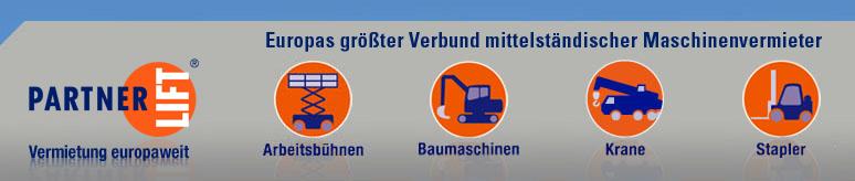 Vermietung Arbeitsb�hnen Krane Stapler Baumaschinen europaweit
